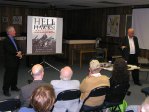 "Authors Bob Dorr & Dr. Tom Jones speaking at Vienna Town Hall in October 2011 on their book ""Hell Hawks!"""